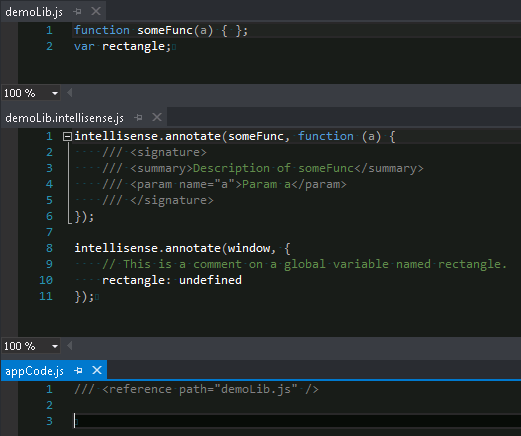 Visual Studio 2012, JavaScript Intellisense example 1